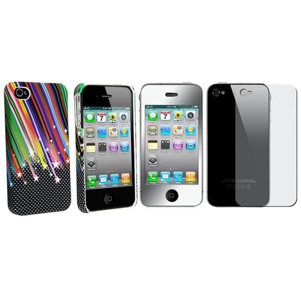 INSTEN Rainbow Star Phone Case Cover/ 2-piece Mirror Screen Protector for Apple iPhone 4