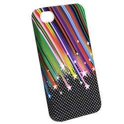 INSTEN Rainbow Star Phone Case Cover/ Anti-glare Screen Protector for Apple iPhone 4