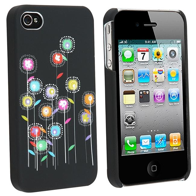Black Multi-color Sunflowers Rubber Case for Apple iPhone 4
