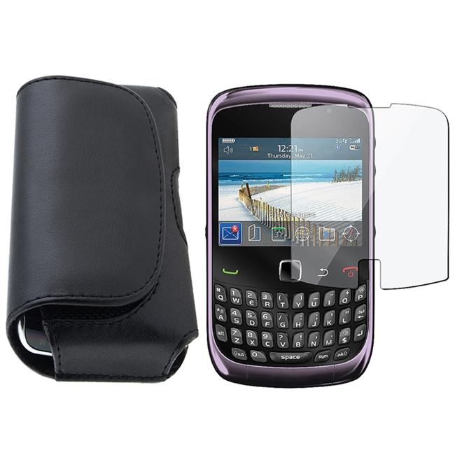 Black Leather Case with Screen Protector for BlackBerry Curve 3G/ 9330