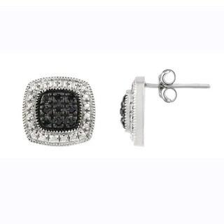 DB Designs Sterling Silver 1/5ct TDW Black Diamond Square Stud Earrings