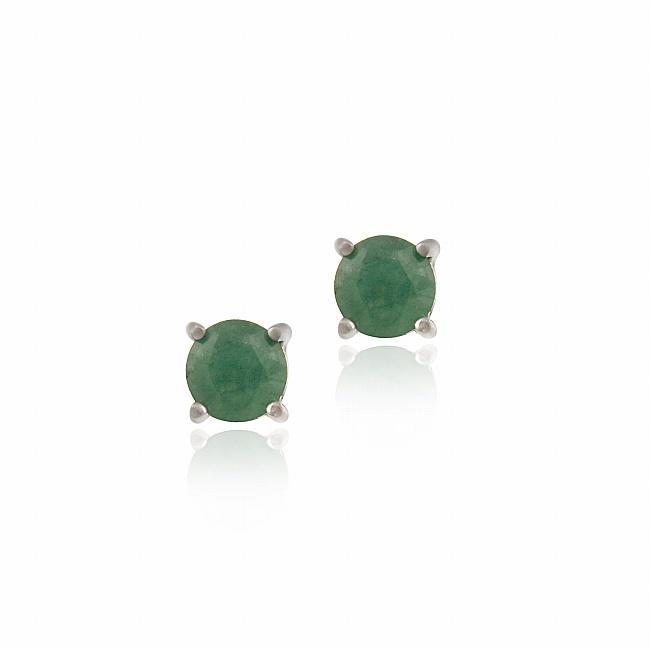 Glitzy Rocks Sterling Silver Emerald Stud Earrings