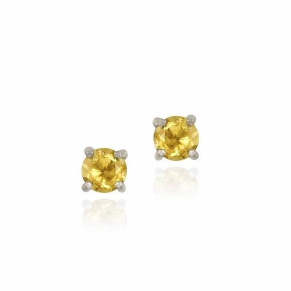 Glitzy Rocks Sterling Silver Citrine Stud Earrings