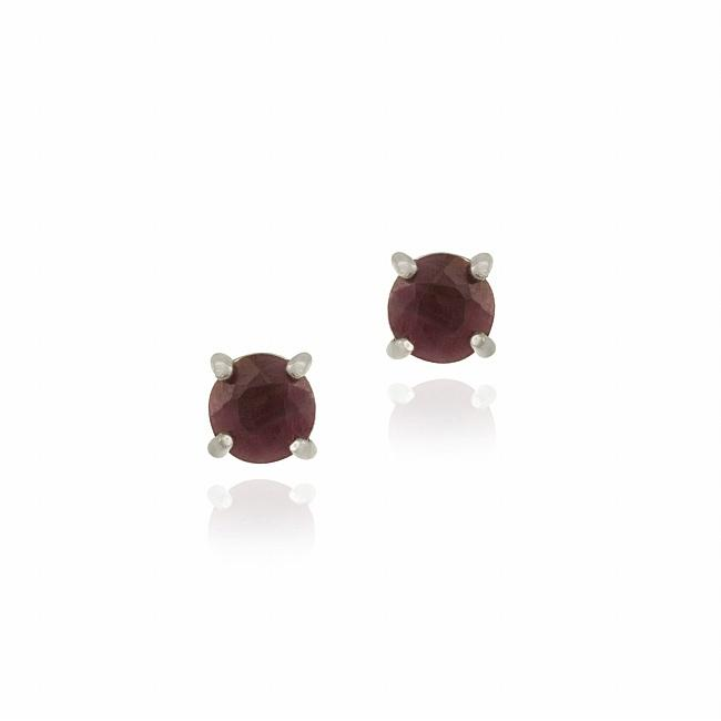 Glitzy Rocks Sterling Silver Ruby Stud Earrings
