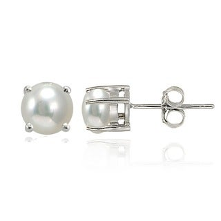 Glitzy Rocks Sterling Silver Freshwater Pearl Stud Earrings (5-6 mm)