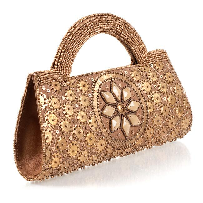 Hand-embroidered Gold Beaded Handbag (India)