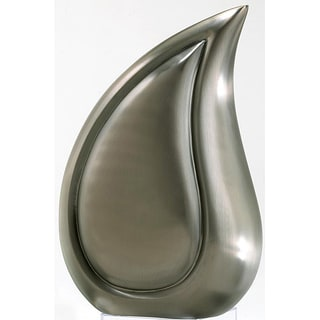 Brushed Pewter Teardrop Adult Brass Urn