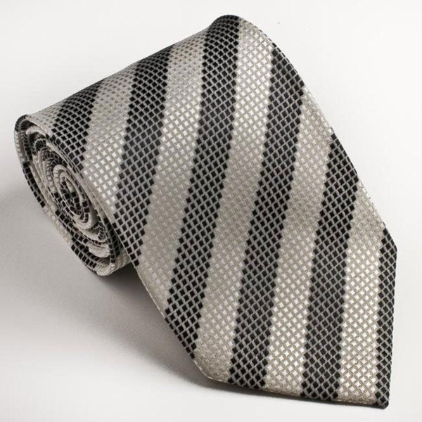 Platinum Ties Men's Striped 'Black & White' Tie