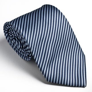 Platinum Ties Men's Striped 'Blue Cookie' Tie