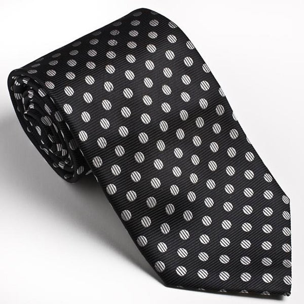 Platinum Ties Men's Black 'Silver Dot' Tie