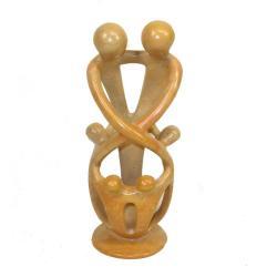 Soapstone Loving Family Embrace 2 Parents 4 Children Statue , Handmade in Kenya