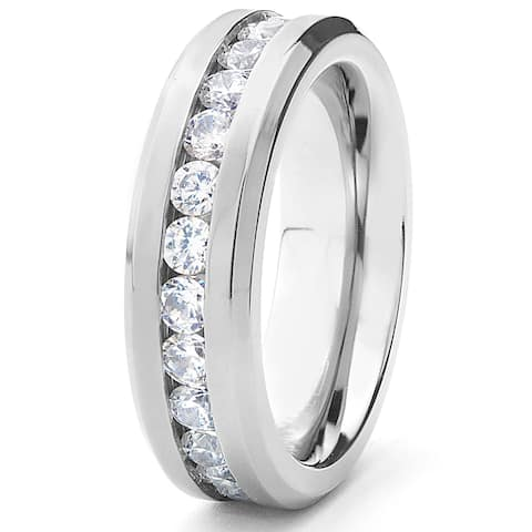 Women's Titanium Cubic Zirconia Eternity Band (6 mm)