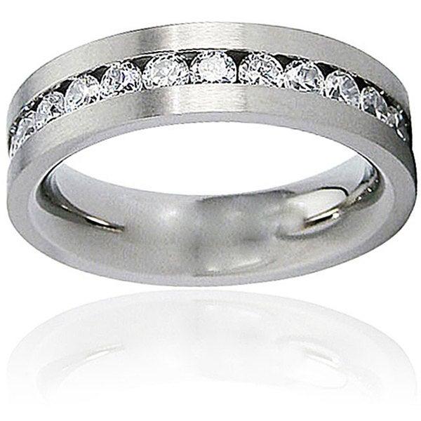 Men's Titanium White Cubic Zirconia Flat Ring