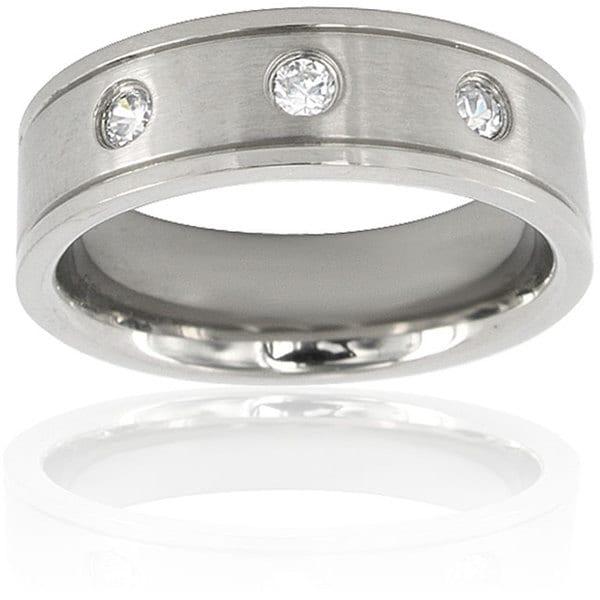 Men's Titanium Cubic Zirconia Flat Eternity Ring