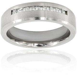 Men's Titanium Channel Set Cubic Zirconia Ring
