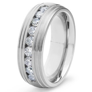 Men's Titanium Grooved Edge Channel Set Cubic Zirconia Ring (8 mm) - White