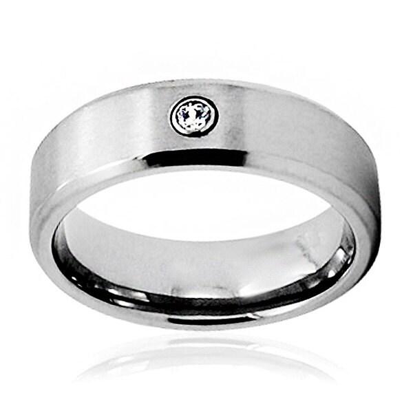 Men's Titanium Bezel Set Cubic Zirconia Ring