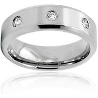 Men's Titanium White Cubic Zirconia Ring