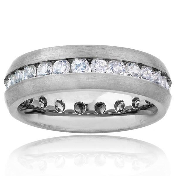 Men's Cubic Zirconia Eternity Brushed Finish Titanium Ring (6mm)