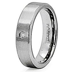 Men's Titanium Cubic Zirconia Satin Finish Ring - Thumbnail 1