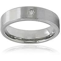 Men's Titanium Cubic Zirconia Satin Finish Ring