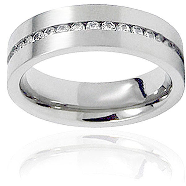 Men's Titanium Cubic Zirconia Channel Set Ring (6 mm)