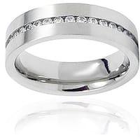 Men's Titanium Cubic Zirconia Channel Set Ring (6 mm)