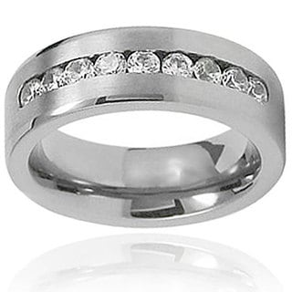 Men's Titanium Channel-set Cubic Zirconia Flat Band (7.4 mm)
