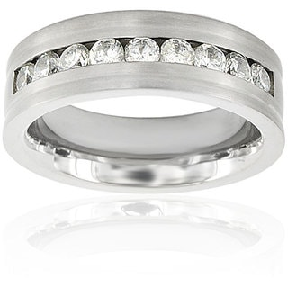 Men's Titanium Cubic Zirconia Flat Ring (7.5 mm)
