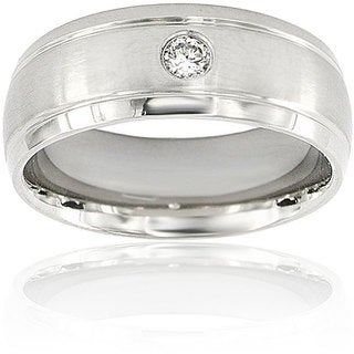 Men's Titanium Cubic Zirconia Grooved Edge Dome Ring