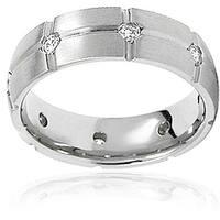 Men's Titanium Cubic Zirconia Grooved Eternity Ring