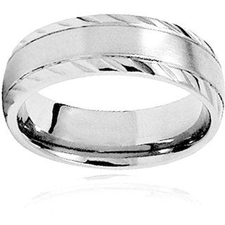 Men's Titanium Rope Grooved Edge Dome Ring