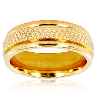 Men's Goldtone Titanium Cross Weave Ring