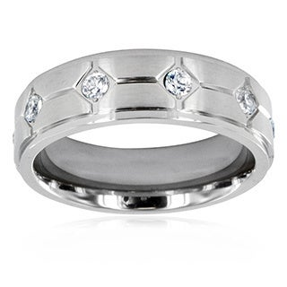 Men's Titanium Cubic Zirconia Eternity Ring