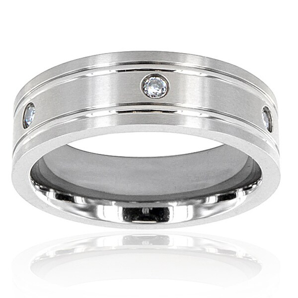 Men's Titanium Cubic Zirconia Grooved Ring