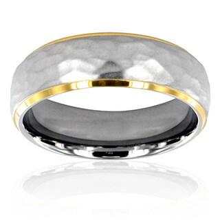 Men's Titanium Two-Tone Hammered Men's Ring