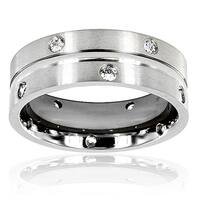 Men's Titanium Cubic Zirconia Double Eternity Ring