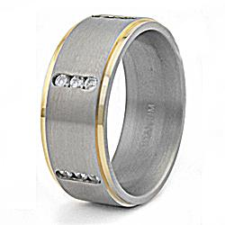 Men's Titanium Two-tone Cubic Zirconia Ring - Thumbnail 1