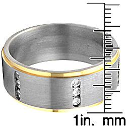 Men's Titanium Two-tone Cubic Zirconia Ring - Thumbnail 2