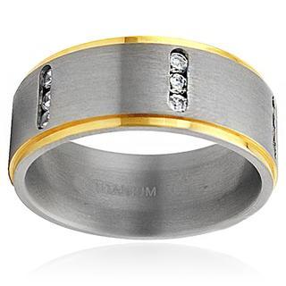 Men's Titanium Two-tone Cubic Zirconia Ring