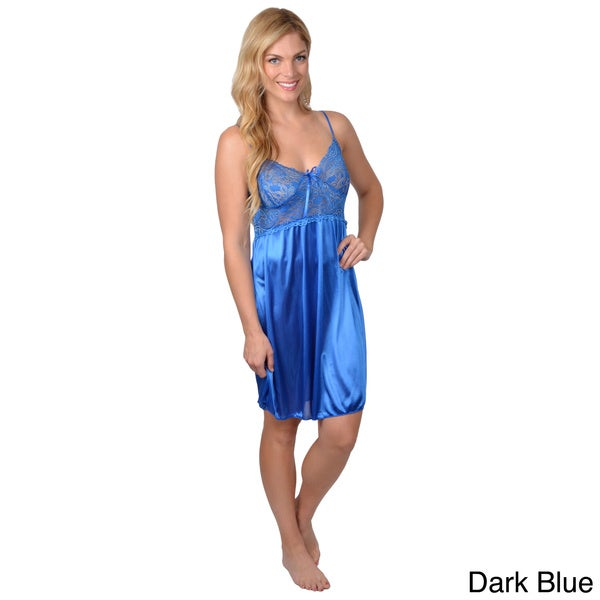 Happie Brand Women's Lacy Solid Chemise Nightgown