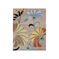 Hand-tufted Metro Flower Beige Wool Rug - 6' x 9'