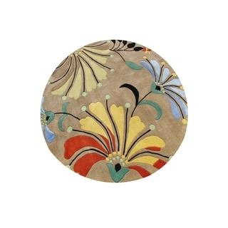 Hand-tufted Metro Flower Beige Wool Rug (8' Round)