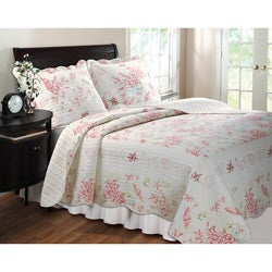 Greenland Home Fashions Coral Red 3-piece Quilt Set - Thumbnail 0