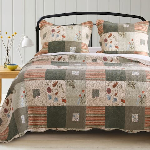 Greenland Home Fashions Sedona 100% Cotton Quilt + Pillow Sham Set