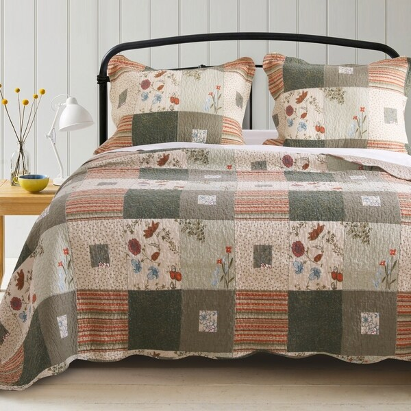 Greenland Home Fashions Sedona 100% Cotton Quilt + Pillow Sham Set. Opens flyout.