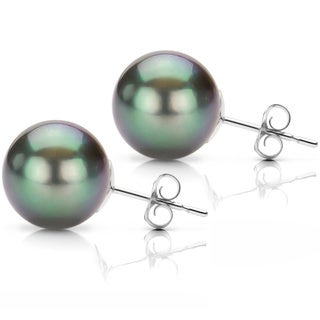 DaVonna Sterling Silver Round Tahitian Pearl Stud Earrings (10-11 mm)