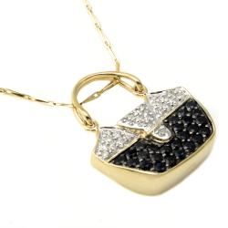 Beverly Hills Charm 14k Yellow Gold Sapphire and 1/4ct TDW Diamond Handbag Necklace