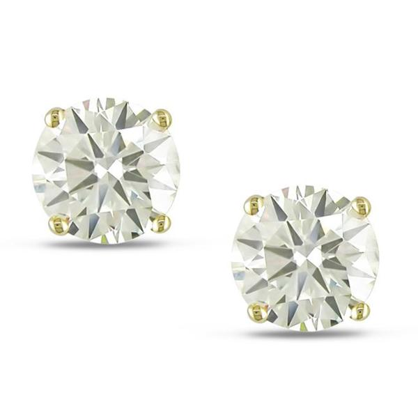 Shira Design 14k Yellow Gold 3 1/2ct TDW Certified Brilliant-cut Diamond Solitaire Earrings