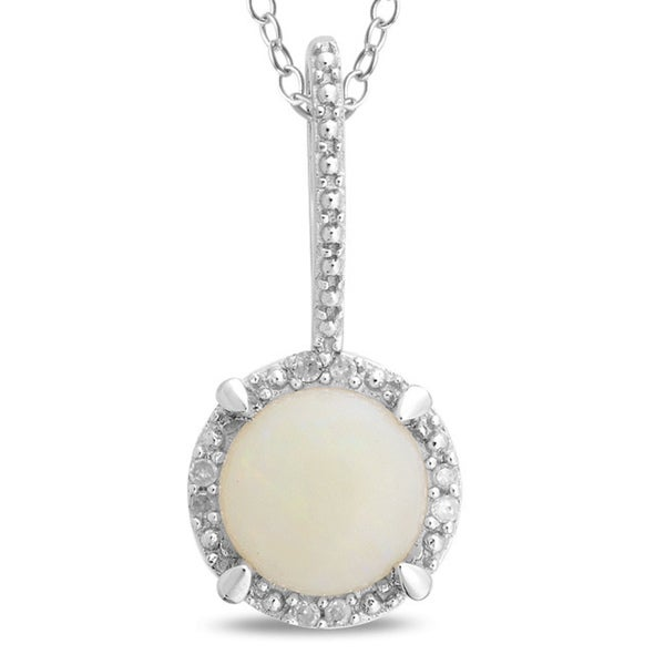 Miadora Sterling Silver Opal and Diamond Accent Necklace